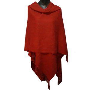 Raspberry Red Blanket Fringe Wrap w/ Subtle Stripe
